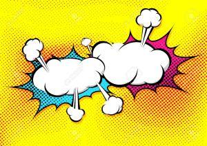 33009605-Speech-Explosionsblasenkollisions-Pop-Art-Stil-lustige-Ballon-Comics-Buchseite-Hintergrund-Vorlage-V-Lizenzfreie-Bilder