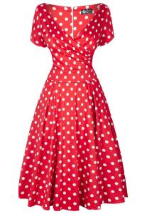robe-rouge-pois-blancs